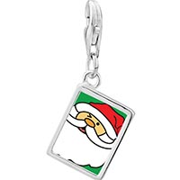 Link Charm Bracelet - 925  sterling silver happy christmas santa claus photo rectangle frame link charm Image.
