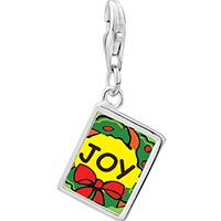 Link Charm Bracelet - 925  sterling silver joy christmas wreath photo rectangle frame link charm Image.