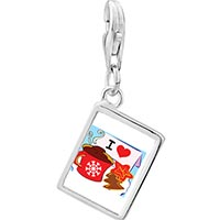 Link Charm Bracelet - 925  sterling silver i love coffee and cookies photo rectangle frame link charm Image.