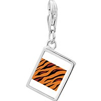 Link Charm Bracelet - 925  sterling silver tiger skin photo rectangle frame link charm Image.