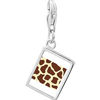 Link Charm Bracelet - 925  sterling silver giraffe skin photo rectangle frame link charm Image.