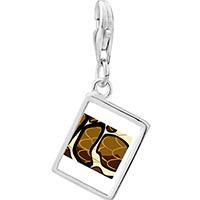 Link Charm Bracelet - 925  sterling silver snake skin photo rectangle frame link charm Image.