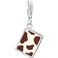 Link Charm Bracelet - 925  sterling silver brown cow skin photo rectangle frame link charm Image.