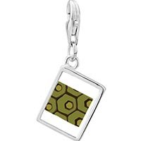 Link Charm Bracelet - 925  sterling silver tortoise skin photo rectangle frame link charm Image.