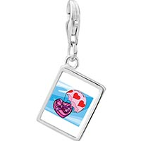 Link Charm Bracelet - 925  sterling silver flying hearts of chocolate photophoto rectangle frame link charm Image.