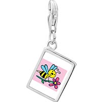 Link Charm Bracelet - 925  sterling silver spring bee with flower photo rectangle frame link charm Image.