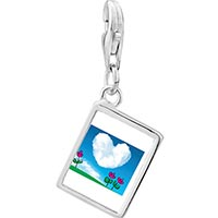 Link Charm Bracelet - 925  sterling silver heart shape cloud photo rectangle frame link charm Image.
