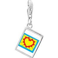 Link Charm Bracelet - 925  sterling silver heart shape sunflower photo rectangle frame link charm Image.