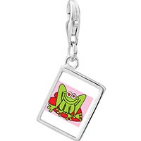 Link Charm Bracelet - 925  sterling silver lovable frog photophoto rectangle frame link charm Image.