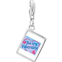 Link Charm Bracelet - 925  sterling silver be my valentine photo rectangle frame link charm Image.