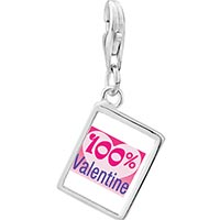 Link Charm Bracelet - 925  sterling silver %  heart valentine photo rectangle frame link charm Image.