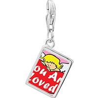 Link Charm Bracelet - 925  sterling silver you are loved by an angel photo rectangle frame link charm Image.