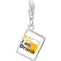 Link Charm Bracelet - 925  sterling silver i am drunk photo rectangle frame link charm Image.