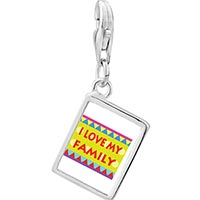 Link Charm Bracelet - 925  sterling silver i love my family photo rectangle frame link charm Image.