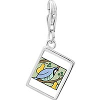 Link Charm Bracelet - 925  sterling silver partridge in a pear tree photo storybook photo rectangle frame link charm Image.