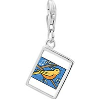 Link Charm Bracelet - 925  sterling silver four calling birds photo storybook photo rectangle frame link charm Image.