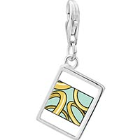 Link Charm Bracelet - 925  sterling silver five golden rings photo storybook photo rectangle frame link charm Image.