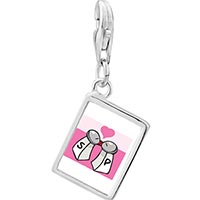 Link Charm Bracelet - 925  sterling silver salt and pepper love photo rectangle frame link charm Image.