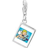 Link Charm Bracelet - 925  sterling silver baby cupid angel photo rectangle frame link charm Image.