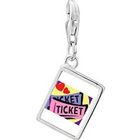 Link Charm Bracelet - 925  sterling silver love heart tickets photo rectangle frame link charm Image.