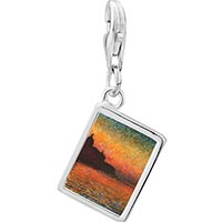 Link Charm Bracelet - 925  sterling silver sunset in venice painting photo rectangle frame link charm Image.