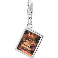 Link Charm Bracelet - 925  sterling silver monet' s garden painting photo rectangle frame link charm Image.