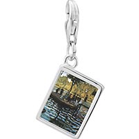 Link Charm Bracelet - 925  sterling silver la grenouillers painting photo rectangle frame link charm Image.