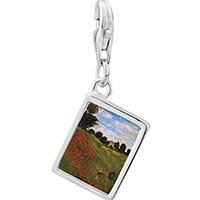 Link Charm Bracelet - 925  sterling silver path in the wheat at pourville painting photo rectangle frame link charm Image.