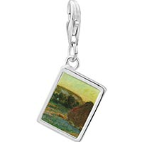 Link Charm Bracelet - 925  sterling silver wheatstacks painting photo rectangle frame link charm Image.