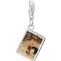 Link Charm Bracelet - 925  sterling silver mom and baby painting photo rectangle frame link charm Image.