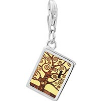 Link Charm Bracelet - 925  sterling silver the tree of life painting photo rectangle frame link charm Image.