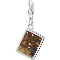 Link Charm Bracelet - 925  sterling silver water serpents paintings photo rectangle frame link charm Image.