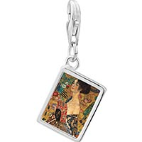 Link Charm Bracelet - 925  sterling silver lady with a fan photo rectangle frame link charm Image.