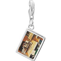 Link Charm Bracelet - 925  sterling silver violin and guitar painting photo rectangle frame link charm Image.
