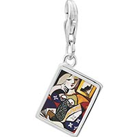 Link Charm Bracelet - 925  sterling silver woman with book painting photo rectangle frame link charm Image.