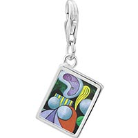 Link Charm Bracelet - 925  sterling silver woman with a flower painting photo rectangle frame link charm Image.