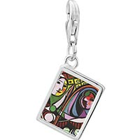 Link Charm Bracelet - 925  sterling silver girl before a mirror painting photo rectangle frame link charm Image.