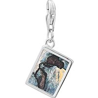 Link Charm Bracelet - 925  sterling silver blue nude painting photo rectangle frame link charm Image.
