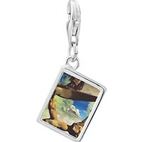 Link Charm Bracelet - 925  sterling silver construction with boiled beans painting photo rectangle frame link charm Image.