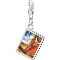 Link Charm Bracelet - 925  sterling silver landscape with butterflies painting photo rectangle frame link charm Image.
