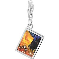 Link Charm Bracelet - 925  sterling silver cafe terrace at night painting photo rectangle frame link charm Image.
