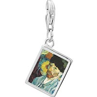 Link Charm Bracelet - 925  sterling silver caroline hero painting photo rectangle frame link charm Image.