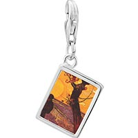 Link Charm Bracelet - 925  sterling silver the sower painting photo rectangle frame link charm Image.