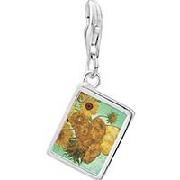 Link Charm Bracelet - 925  sterling silver vase with 12  sunflowers painting photo rectangle frame link charm Image.