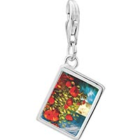Link Charm Bracelet - 925  sterling silver poppies painting photo rectangle frame link charm Image.