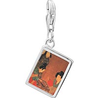 Link Charm Bracelet - 925  sterling silver ladies playing double sixes painting photo rectangle frame link charm Image.