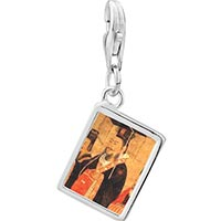 Link Charm Bracelet - 925  sterling silver emperor da of n wu painting photo rectangle frame link charm Image.