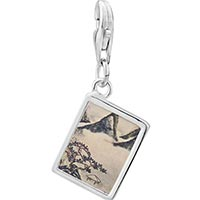 Link Charm Bracelet - 925  sterling silver mountains and pines in spring painting photo rectangle frame link charm Image.