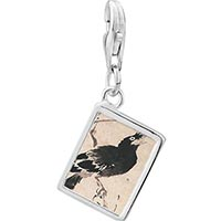 Link Charm Bracelet - 925  sterling silver bird painting photo rectangle frame link charm Image.