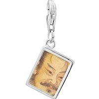 Link Charm Bracelet - 925  sterling silver su shi of song dynasty painting photo rectangle frame link charm Image.